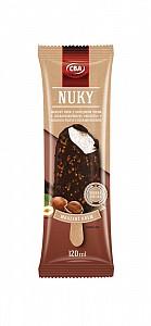 CBA NUKY. Mrazený krém s rastlinným tukom s lieskovoorieškovou príchuťou v kakaovej poleve s kúskami orieškov 120 ml