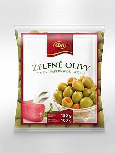 CBA zelené olivy plnené paprikovou pastou 180 g
