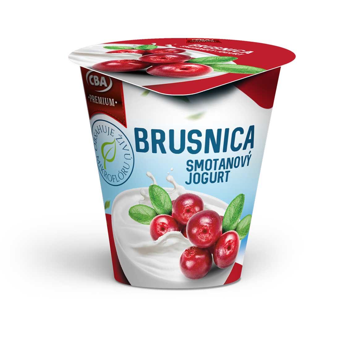 CBA Premium smotanový jogurt brusnicový 145 g