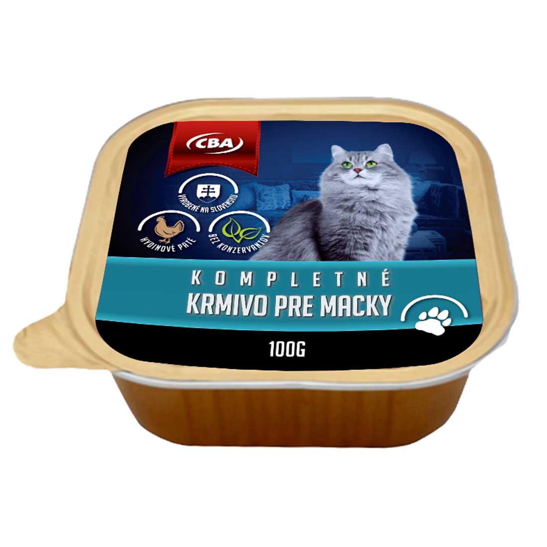 CBA kompletné krmivo pre mačky 100g  (vanička)